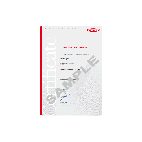 FRONIUS warranty extension to 10 years
